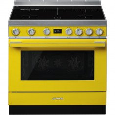 Induktsioonpliit Smeg, Portofino, 5 x induktsioon, elektriahi, 90 cm, pürolüüs, kollane