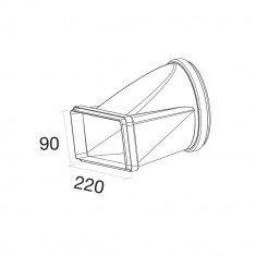 Üleminek: kandiline vent. šaht 220x90 mm → Ø150