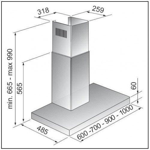 Õhupuhastaja Scanberg Eva, 60cm, RV teras, 483 m3/h, 66dB