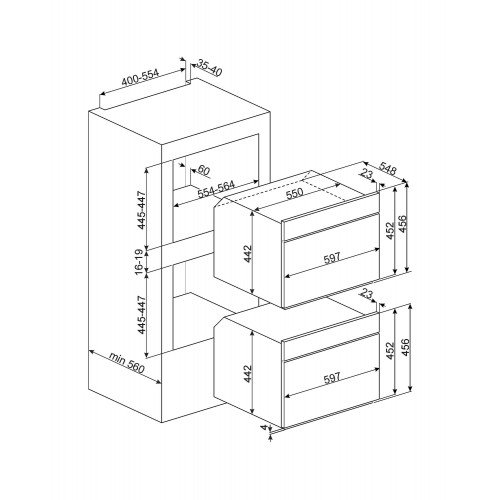 Kompakt kombi-auruahi Smeg DolceStilNovo, TFT, aurupuhastus, A+, must/vask