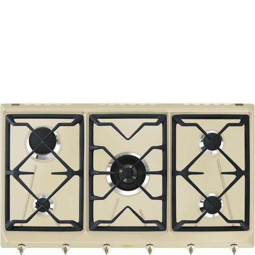 Pliidiplaat Smeg Colonial, 5 x gaas, 90 cm, kreem/messing