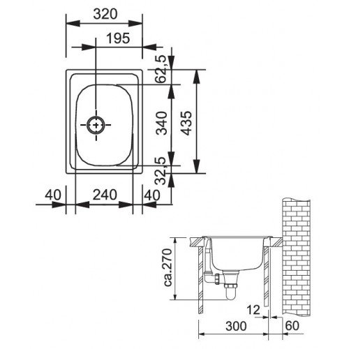 Valamu Franke ETX 610-30 valamu , roostevaba teras sile, paigalduseks pikuti või laiuti