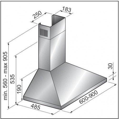 Õhupuhastaja Scanberg Nemo, 60cm, RV teras, 483 m3/h, 66dB