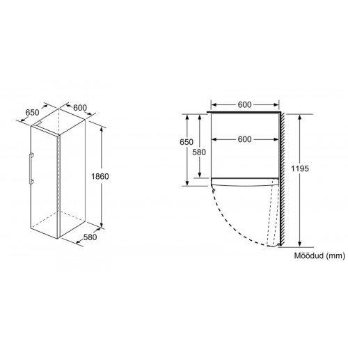 Sügavkülmik Bosch, 186 cm, A++, 42 dB, elektrooniline juhtimine, valge