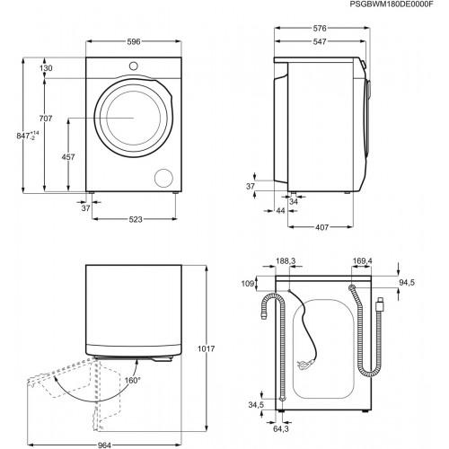 Pesumasin Electrolux, eestlaetav, 8 kg, A+++,1200 p/min, inverter, valge