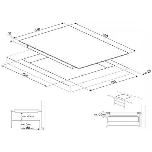 Pliidiplaat Smeg, 3 x induktsioon, 60 cm, must, lõigatud serv