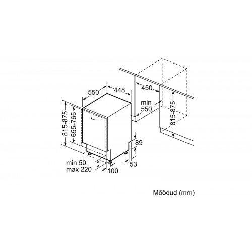 Nõudepesumasin Bosch, integreeritav, 45 cm, A+++, Zeolith, 3 korvi, 44 dB