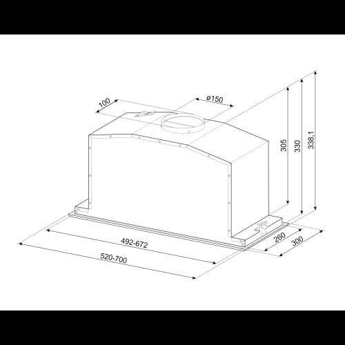 Õhupuhastaja Smeg, integreeritav, 52 cm, 720 m3/h, 71 dB, rv teras