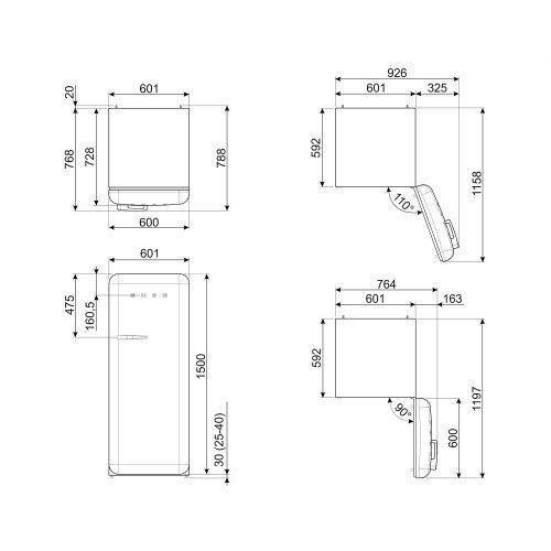 Salongi näidis! Külmik Smeg, 50-ndate stiil, 150 cm, A+++, 38 dB, elektrooniline juhtimine, laimiroheline