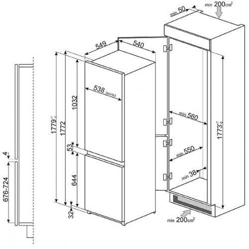 Külmik Smeg, integreeritav, NoFrost, 178 cm, A++, 39 dB , puutetundlik