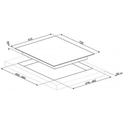 Pliidiplaat Smeg Linea, 5 x gaas, WOK, 73 cm, RV teras