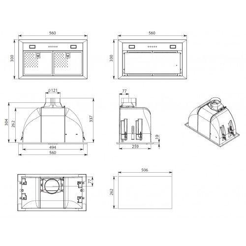 Õhupuhastaja Falmec BIN50, Integreeritav, 56 cm, rv teras, 600m3/h, 65 dB