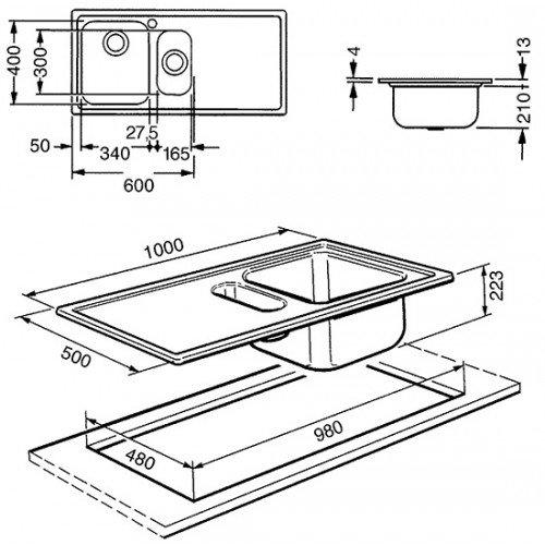 Valamu Smeg Alba, 100 cm, pealt paigaldatav, käsitsi, vääristeras, RV teras