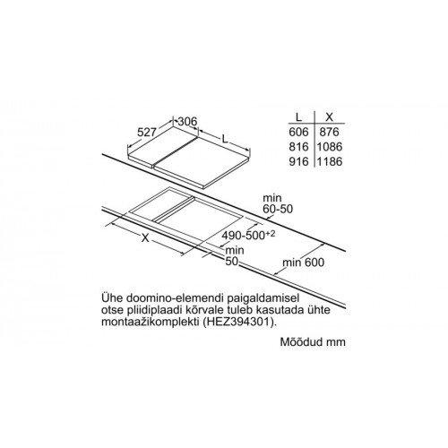Pliidiplaat Bosch, 2x induktsioon, domino, 30 cm, rv raam ja faasitud serv