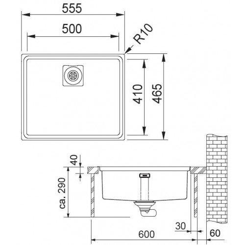 Valamu Franke CEX 210-50 sealh.ventiil (SlimTop)