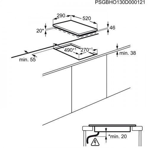 Pliidiplaat Electrolux, 2 x induktsioon, domino, 30 cm, must, lõigatud serv