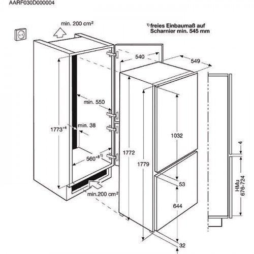 Külmik Electrolux, integreeritav, NoFrost, A++, 178cm, puutetundlik