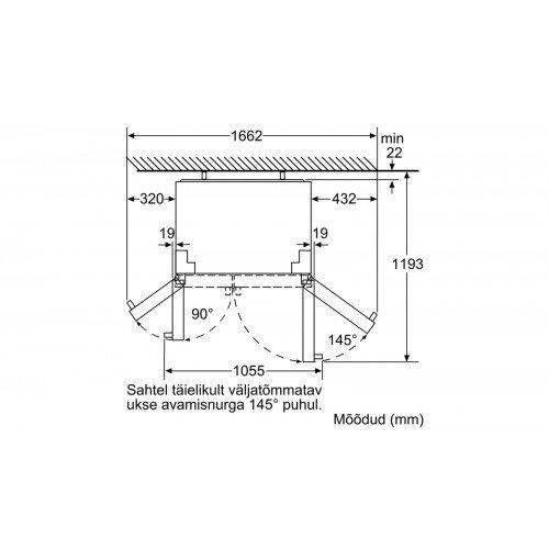 Külmik Bosch, Side-by-side, 177cm, A+, 43dB, elektrooniline juhtimine