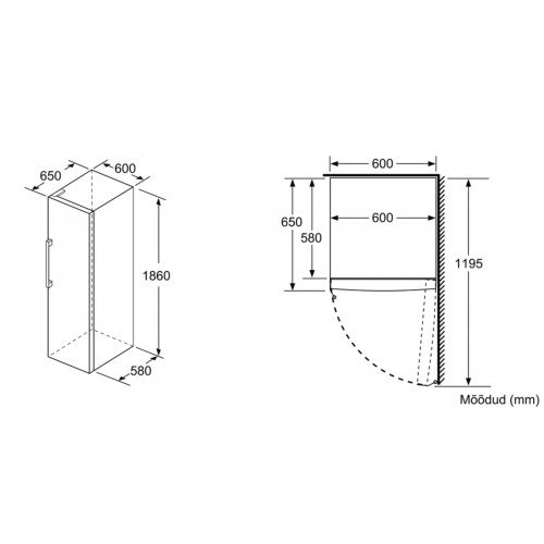 Sügavkülmik Bosch, 186 cm, A++, 42 dB, NoFrost, elektrooniline juhtimine, valge