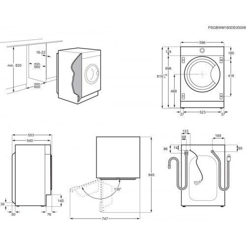 Pesumasin AEG, integreeritav, eestlaetav, inverter, 8 kg, A+++, 1400 p/min, valge
