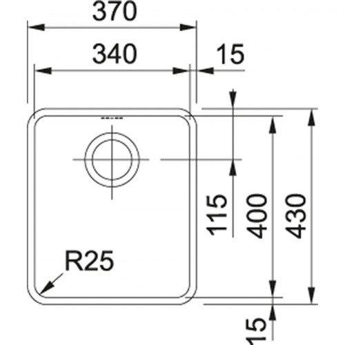Valamu Franke KBX 110-34 sealh. ventiil (käsitsi avatav)