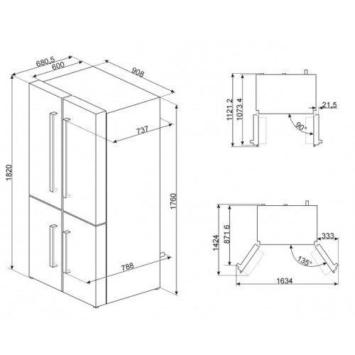 Külmik Smeg, nelja uksega, 182 cm, A+, 43 dB, NoFrost, elektrooniline juhtimine, RV teras