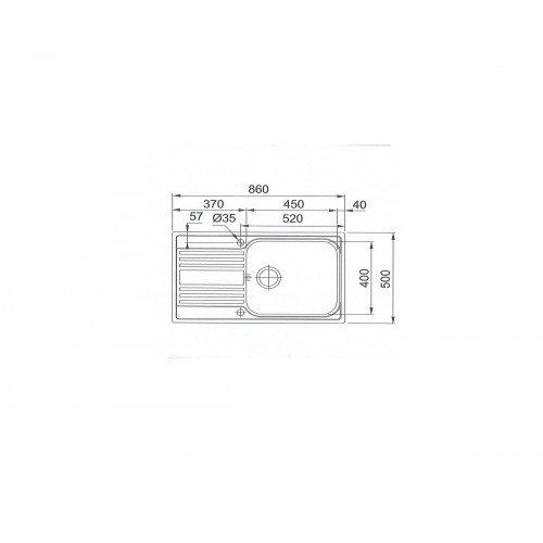 Valamu Franke RPX 611-86 XL (sh. ventiil), pööratav, vääristeras sile
