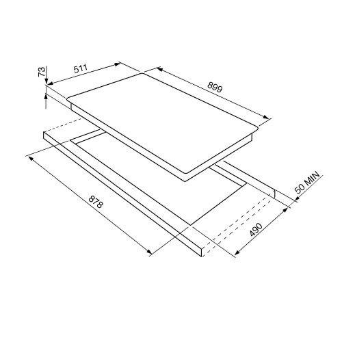 Pliidiplaat Smeg, Linea + Classic, 5 x gaas, 90cm, RV teras