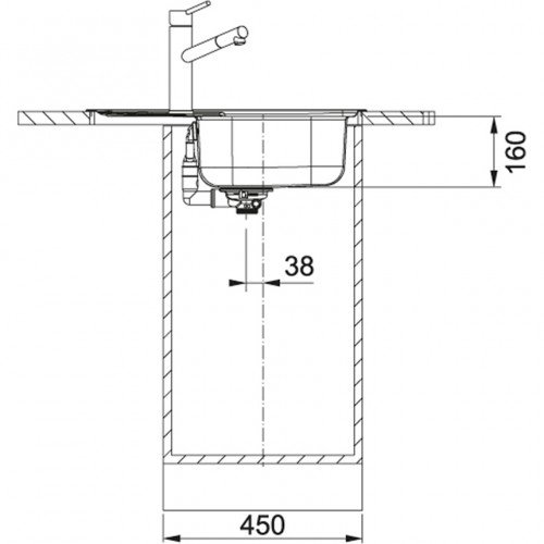 Valamu Franke SKX 611-63 (sh. ventiil), pööratav, vääristeras sile