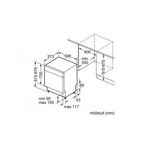 Nõudepesumasin Bosch, integreeritav, A+, 60 cm, valge uks