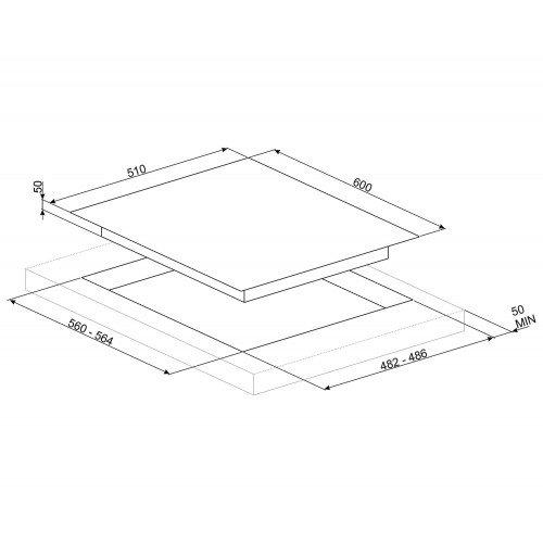 Pliidiplaat Smeg DolceStilNovo, 4x gaas, 60 cm, RV teras