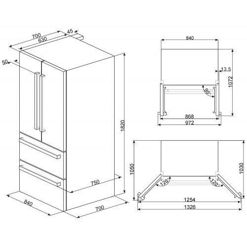 Külmik Smeg, Prantsuse uksega,182cm, A+, 42 dB, elektrooniline juhtimine, RV teras