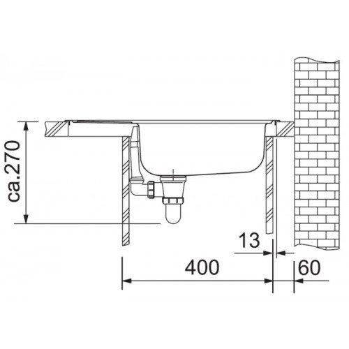Valamu Franke ETN 611-58 i valamu , roostevaba teras matt, pööratav (tööstusversioon)