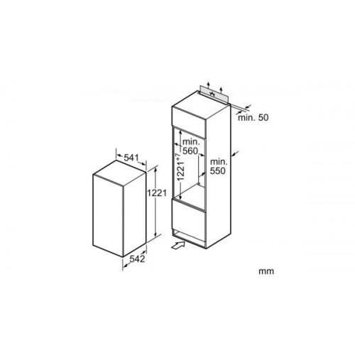 Jahekapp Bosch, integreeritav, 122 cm, 221 l, 37 dB, mehaaniline juhtimine