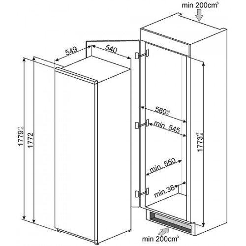 Jahekapp Smeg, integreeritav, 178 cm, A++, 34 dB , puutetundlik