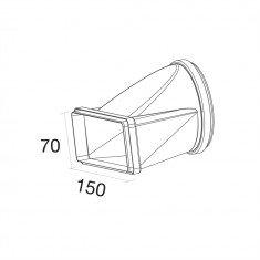 Üleminek Ø125 mm/ kandiline150x70 mm