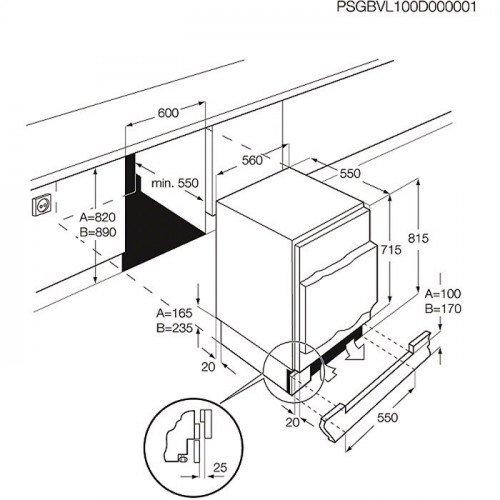 Jahekapp Electrolux, integreeritav, 82-87cm, A+, 38dB, mehaaniline juhtimine
