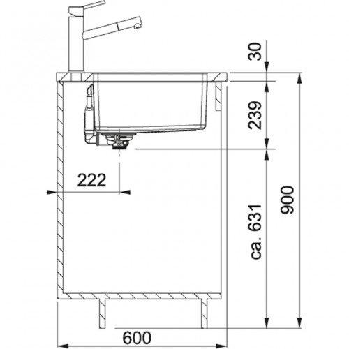 Valamu Franke MARIS, MRX 110-45 sealh. ventiil, käsitsi avatav, vääristeras