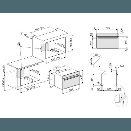 Kompakt kombi-mikroahi Smeg DolceStilNovo, aurupuhastus, must/RV-teras