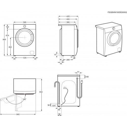 Pesumasin AEG, eestlaetav, 6 kg, 1200 p/min, inverter, A+++, valge