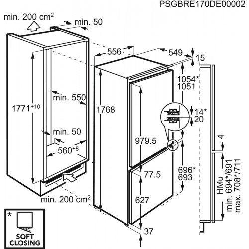 307aeec9374 Integreeritav külmik AEG, 177 cm, A+++, 34 dB - E-Lux