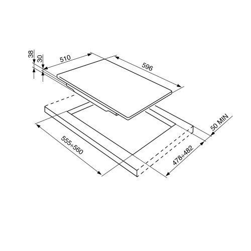 Pliidiplaat Smeg Piano, 4x gaas, 60 cm, RV teras