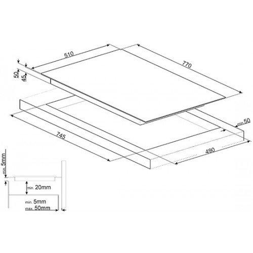 Pliidiplaat Smeg, 4 x HighLight, 80 cm, must, faasitud serv