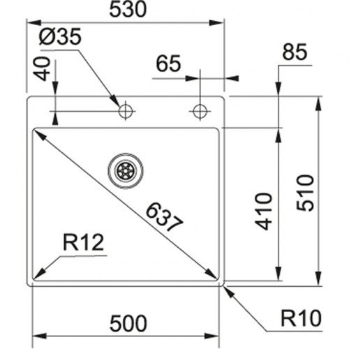 Valamu Franke BXX 210-50 A, sealh. ventiil