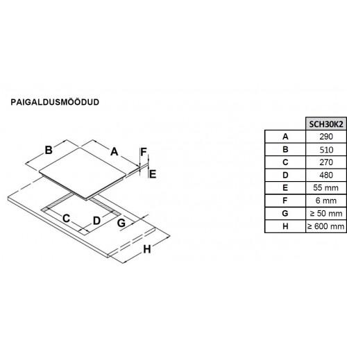 Pliidiplaat Scanberg, 2 x induktsioon, 30 cm, lõigatud serv, must